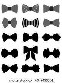 Set of bow ties, vector illustration