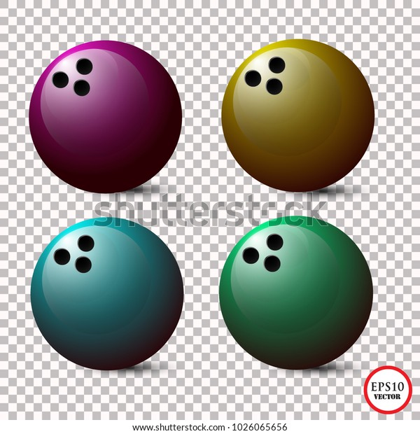 Set Bowling Ball Isolated On Transparent Stock Vector