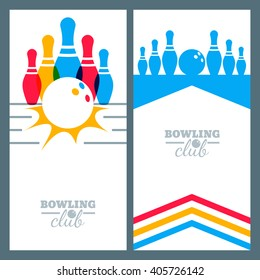 Set of bowling banner backgrounds, poster, flyer or label design elements. Abstract vector illustration of kegling game. Colorful bowling ball and pins.