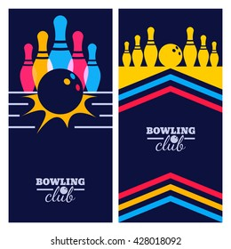 Set of bowling banner backgrounds, poster, flyer or label design elements. Abstract vector illustration of kegling game on black background. Colorful bowling balls and pins.