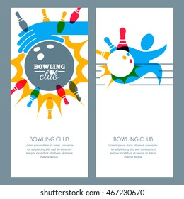 Set of bowling banner backgrounds, poster, flyer or label design elements. Abstract vector illustration of bowling game. Multicolor human silhouette, bowling ball and bowling pins.