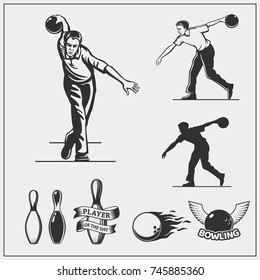 Set of bowling icons and emblems. Illustration of bowling players.