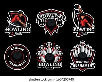 Set of bowling Logo. Bowling logo and badge. Bowling vector illustration