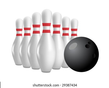 set of bowling pins and ball