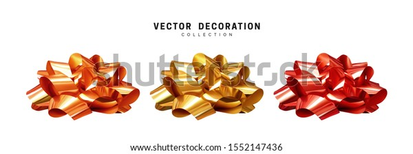 Set of bows golden and red, bronze metallic color. Realistic isolated on white background.