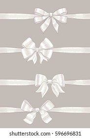 set of bows and ribbons. hand drawn vector illustration. collection of design decorative elements for celebration greetings, invitations