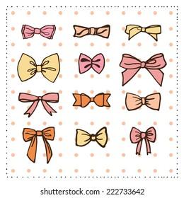 Set of bows.Vector illustration.