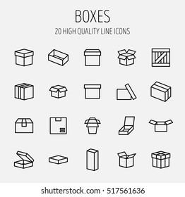 Set of box icons in modern thin line style. High quality black outline package symbols for web site design and mobile apps. Simple linear wooden crate pictograms on a white background.