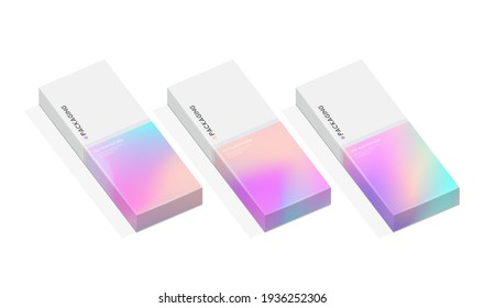 Set of box or packaging design template for presents or special days like easter, christmas,  holidays, etc. with pastel pattern gradient backgrounds.