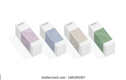 Set of box, packaging template design for product vector illustration.