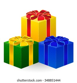 Set of boxes with gifts, red, green and blue colors, beautifully decorated with bows. Boxes with Christmas gifts.