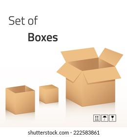 Set of boxes with icons