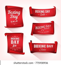 Set of Boxing Day Sale Parchment And Banners/ Illustration of a set of elegant design christmas and boxing day on red parchment scroll, for december and winter holiday sale