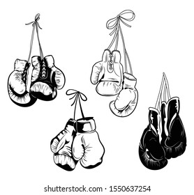 Set of boxing gloves. Collection of protective equipment for training. Black and white illustration for the gym.