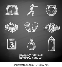 Set of boxing hand drawn on a chalkboard icons - gloves, shorts, helmet, round card, boxer, ring, belt, punch bags. Vector
