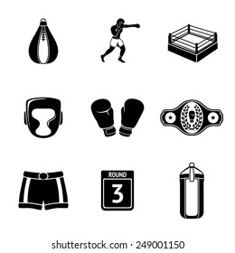 Set of boxing icons - gloves, shorts, helmet, round card, boxer, ring, belt, punch bags. Vector