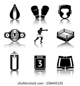 Set of boxing icons with reflections - gloves, shorts, helmet, round card, boxer, ring, belt, punch bags. Vector