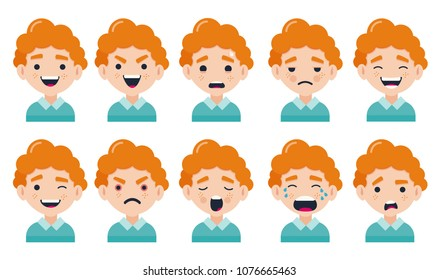 Set of boy facial emotions. Red-haired guy character with different expressions. Vector illustration in a flat cartoon style.