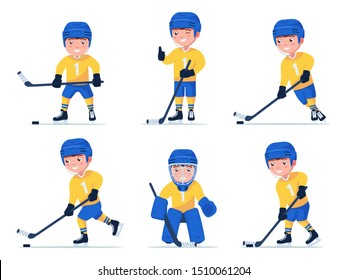 Set of boy hockey player playing with a stick and puck in different poses. Child plays professional hockey in a variety of poses. Vector illustration isolated on white, flat style.