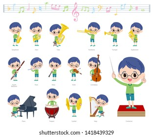 A set of boy on classical music performances.There are actions to play various instruments such as string instruments and wind instruments.It's vector art so it's easy to edit.