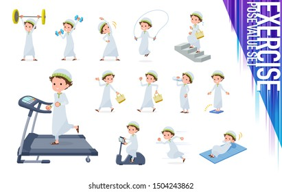 A set of boy on exercise and sports.There are various actions to move the body healthy.It's vector art so it's easy to edit.