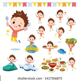 A set of boy on food events.There are actions that have a fork and a spoon and are having fun.It's vector art so it's easy to edit.
