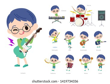 A set of boy playing rock 'n' roll and pop music.There are also various instruments such as ukulele and tambourine.It's vector art so it's easy to edit.