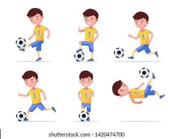 Set boy soccer player plays football with the ball in various poses. Child in sports uniform plays football. Vector illustration isolated on white background, flat style.