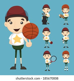 Set of boy and sport , eps10 vector format