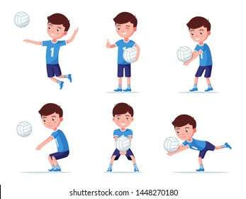 Set of boy volleyball player in various poses playing with a ball. Collection of a child in sportswear playing professional volleyball. Vector illustration, flat style.