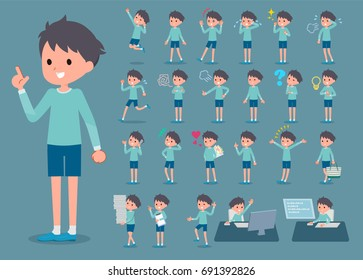 A set of boy with who express various emotions. There are actions related to workplaces and personal computers. It's vector art so it's easy to edit.