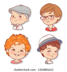 Set with boy's faces. Userpics for blog. Avatar collection of boy faces. Vector illustration of different  kids  portraits in circle. Various color of hair, eyes, skin, nation. Vector illustration.