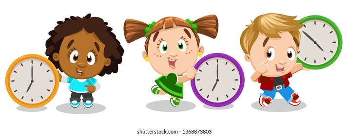 Set with boys and girl standing next to or holding clocks. Multiracial kids learning to read time. Control of timetable, schedule for little children. Vector cartoon illustration isolated on white.