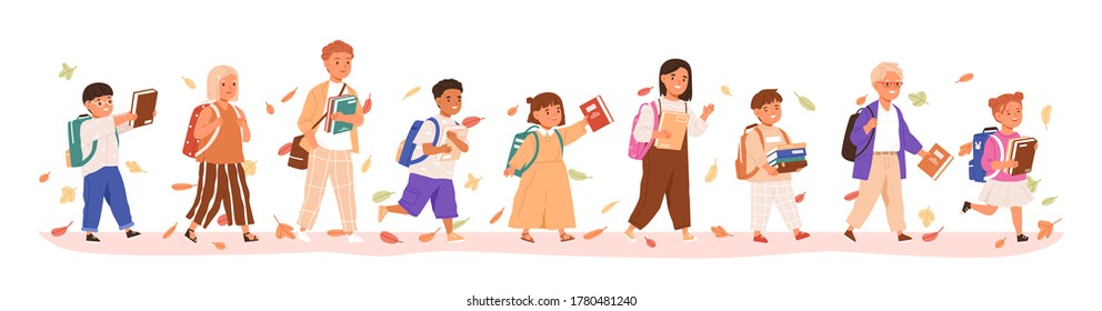 Set of boys and girls going to elementary or middle school vector illustration. Happy pupils holding books surrounded by autumn leaves isolated on white. Collection of children with backpack or bag - Shutterstock ID 1780481240