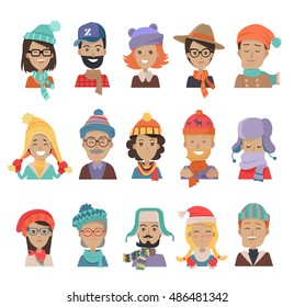 Set of boys and girls in hats. Collection of hats for all seasons. Man and woman in winter hat isolated. Fashion ladies hat accessory clothing wear. Elegant warm bonnets. Retro vintage hats. Vector