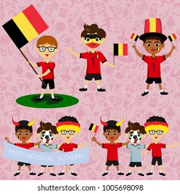 Set of boys with national flags of Belgium. Blanks for the day of the flag, independence, nation day and other public holidays. The guys in sports form with the attributes of the football team