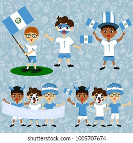 Set of boys with national flags of Guatemala. Blanks for the day of the flag, independence, nation day and other public holidays. The guys in sports form with the attributes of the football team