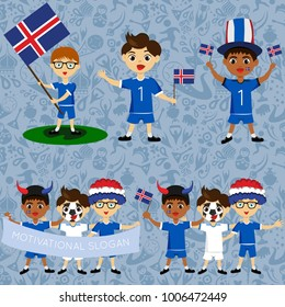 Set of boys with national flags of Iceland. Blanks for the day of the flag, independence, nation day and other public holidays. The guys in sports form with the attributes of the football team