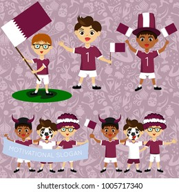 Set of boys with national flags of Qatar. Blanks for the day of the flag, independence, nation day and other public holidays. The guys in sports form with the attributes of the football team
