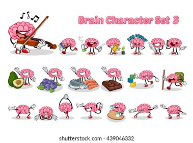 Set of Brain Cartoon Character Three Vector Illustration