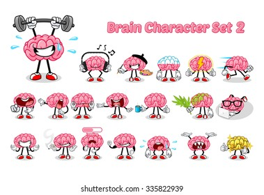 Set of Brain Cartoon Character Two Vector Illustration