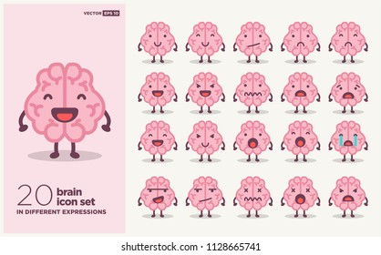 Set of Brain Emoji Line Icons In Different Expressions