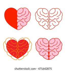 Set of brain and heart. Brain in heart shape. Vector illustration icon, isolated on white background. Success concept