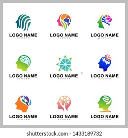 Set of brain and human head logo design
