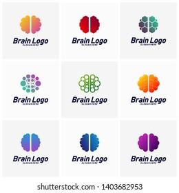 Set of Brain logo design vector, Mind concept logo template, Icon Symbol
