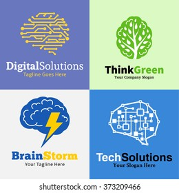 Set of brain logo. Tech and ecology badges.