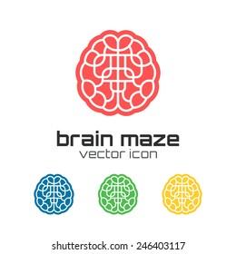 Set of brain maze icons. Concept logo. Vector illustration