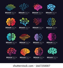 set of brain tech smart digital idea logo template vector icon