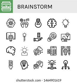 Set of brainstorm icons such as Artificial light, Brain, Lightbulb, Creative, Creativity, Knowledge, Brainstorming , brainstorm