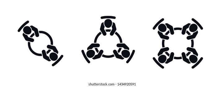 Set of brainstorming and teamwork icons. Business meeting. People in conference room sitting around a table working together on new creative projects. Flat vector design.